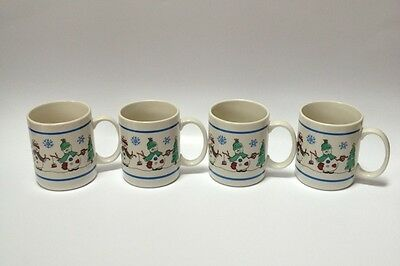 4 Tienshan Snowmen Snowflake Coffee Mugs Cups Snowman Winter Holiday