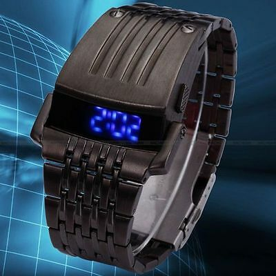 Reloj Digital De Led Para Hombres En Acero Inoxidable, Color Negro
