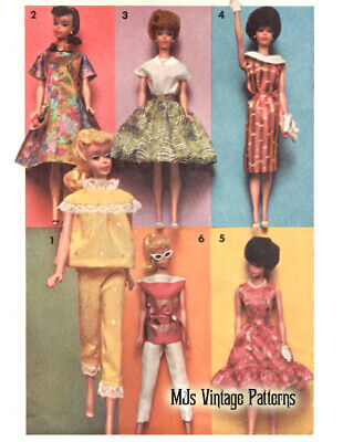 "Around the Clock Vintage 60s Barbie Doll Wardrobe Pattern ~ 11.5"" tall"