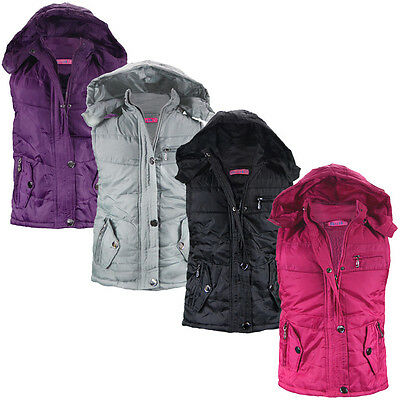 Girls Bodywarmer Sleeveless Jacket Faux Fur Lining Waistcoat Zip Pockets 3-12 Y