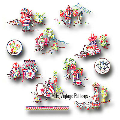 Vintage Mexican Embroidery Motifs Pattern