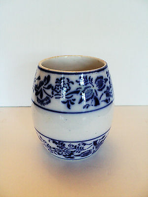 ANTIQUE GERMAN POTTERY FLOW BLUE JAR