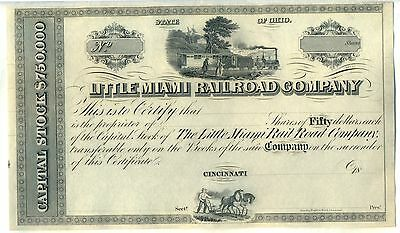 Little Miami Railroad Company Stock Certificate Cincinnati Ohio Unissued