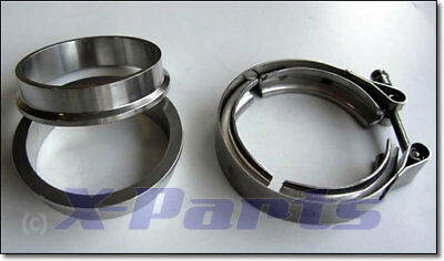 "V-Band Schelle SET mit FLANSCH 57 mm 2"" Turbo VR6 R32 16V G60 G40 1.8T 2.0T 1.4T"