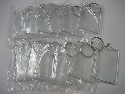"""Lot of 12 Photo Key Chains /  For Photo Size 1 3/8"""" x 2"""" / Plastic /New"""