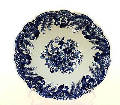 """Beautiful 9.5"""" Delft Blue & White Floral Cabinet Plate, Signed"""
