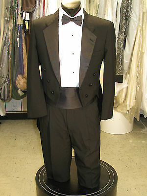 Mens Vintage Notch Tails Tuxedo Black 4Pc 40S #19