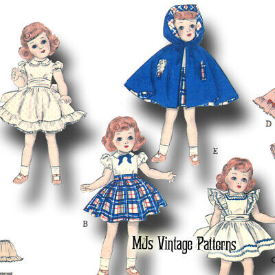 "Vintage 1950s Doll Clothes Dress Pattern ~ 14"" Toni, 15"" Miss Revlon, Sweet Sue"