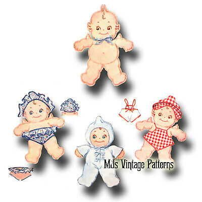 Vintage 1930s Kewpie Cloth Stuffed Doll Pattern + Clothes