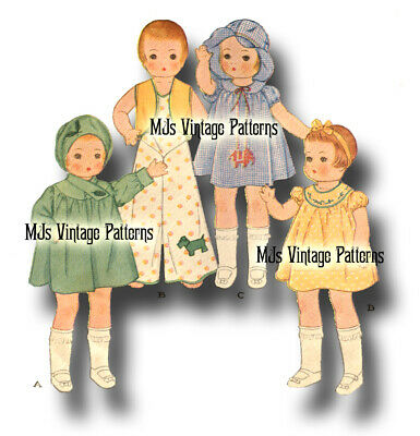 """Vtg 30s Patsy Doll Dress Clothes Pattern ~ 13"""" 14"""" Shirley Temple Composition"""