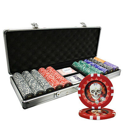 500pcs 13.5G SKULL POKER CHIPS SET ALUM CASE CUSTOM BUILD
