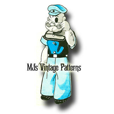 Vintage Popeye Cloth Stuffed Doll & Clothes Pattern