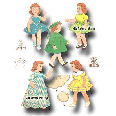 "Vtg 1950s Pattern ~ 16"" Terri Lee Doll Clothes Sunsuit Party Dress Coat Hat Robe"