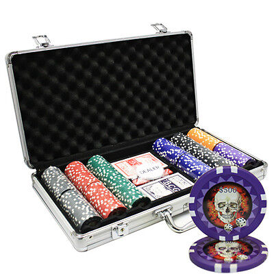 300pcs 13.5G SKULL POKER CHIPS SET ALUMINUM CASE CUSTOM BUILD
