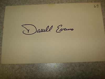 1969 Darrell Evans Autograph index card Rare 3X5 Signed Debut year Auto