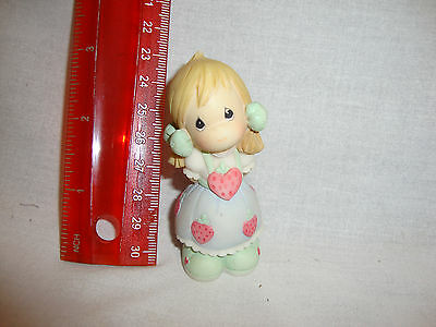 Precious Moments~ Pigtailed Blonde Girl Wearing a Dress with Strawberries