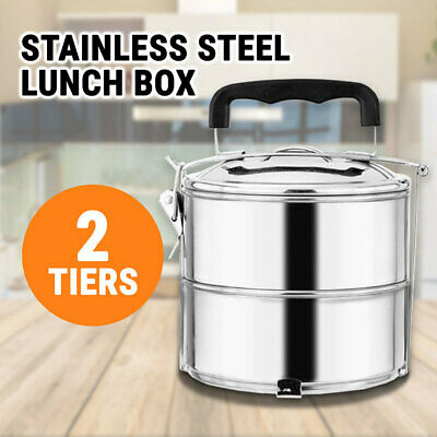 2 Tiers Stainless Steel Lunch Box Portable Food Container Bento Picnic Mental