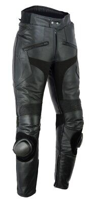 Mens Cowhide Leather Motorcycle Biker Trousers Jeans With Sliders & CE Armour