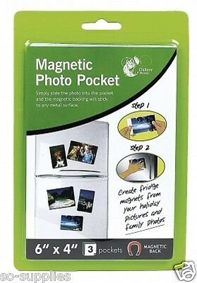 """3 Pack Magnetic Photo Picture Photograph Holders Pockets 6"""" X 4"""" Fridge Magnets"""
