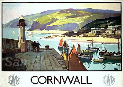 Vintage Cornwall Great Western Railway Gwr Travel A4 Poster Print