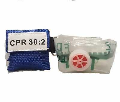 100 Blue CPR Facial Shield Mask in Pocket Keychain imprinted CPR 30:2