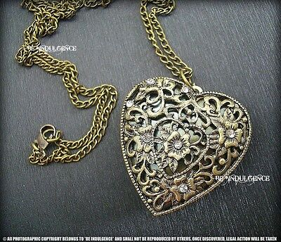 *100% New Vintage Style Antique Brass Bronze Heart Oval Photo Locket Necklace