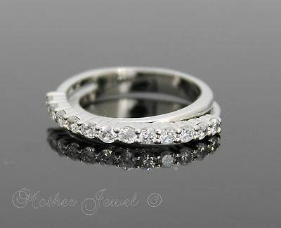 Simulated Diamond Double Eternity Silver Plated Wedding Band Womens Girls Ring