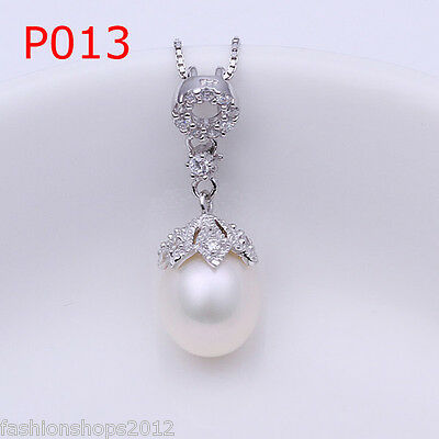 Fashion 925 Sterling silver Swarovski Crystal Pearl necklace + gift box DLP013