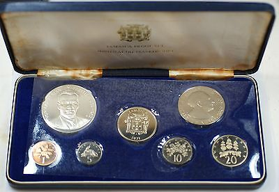 1971 Franklin Mint Jamaica Proof Set with Sterling Silver .925 5$ Coin in Box