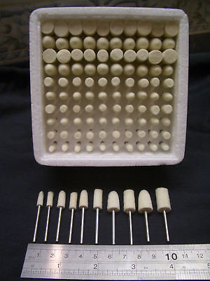 Assorted 100 pieces WOOL FELT mounted polish bobs polishing rotary point burrs