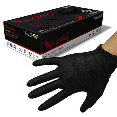 Black Latex Tattoo and Piercing Gloves - Powder Free - Soft Touch Extra Strong