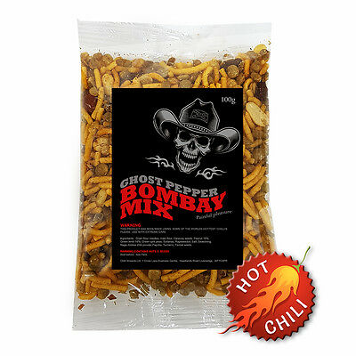 Ghost Pepper 4 x 100g Bombay Mix. Very Hot Chilli Mixed Snack. - Naga Jolokia
