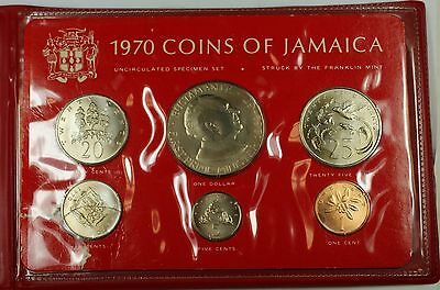 1970 Franklin Mint Jamaica 6 Coin Uncirculated Specimen Set