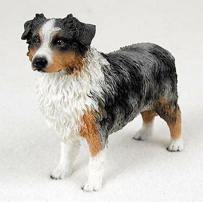 Australian Shepherd Figurine Hand Painted Collectible Statue Blue