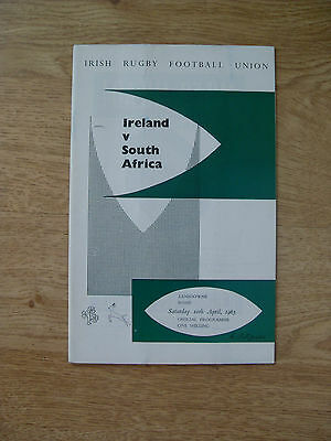 Ireland v South Africa 1965 Rugby Programme