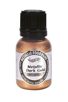 Metallic Pearlescent dark gold edible food paint Sugarcraft Cake Decorating