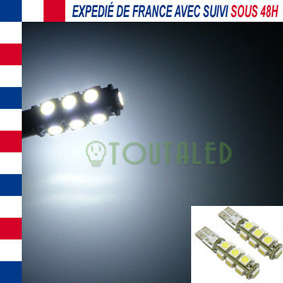 2X Ampoule Lampe 12V T10 W5W 13 Led 5050 Blanc Froid Anti Erreur Odb Canbus