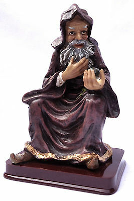 Wizard Statue Sitting Merlin Woden Odin Mystical Magic Glass Crystal Ball New
