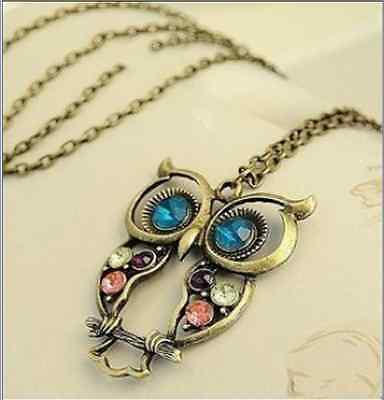Super Hot Cute Stylish Vintage Colorful Cute Owl Carved Hollow Chain Necklace