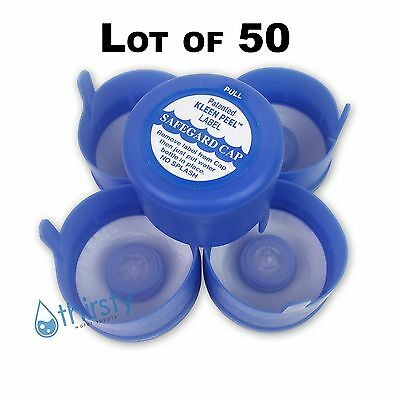 Lot of 50, 3 & 5 Gallon Water Bottle Snap On Cap Anti Splash 55mm Peel Off Tops