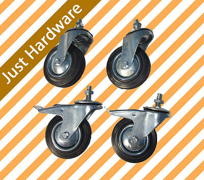 "4 X 4"" HEAVY DUTY SWIVEL CASTOR Thread 100mm with 2 Brakes 2 Swivel Caster Wheel"