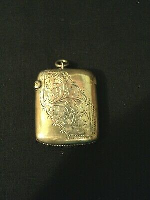 Nice Antique English Sterling Silver Engraved Match Safe, C. 1903