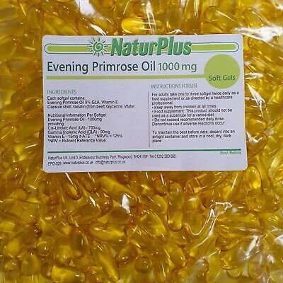 Evening Primrose Oil 1000mg 360 Capsules GLA 9% Omega 6 Vitamin E - NaturPlus
