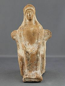 Ancient Greek Terracotta Statuette of a Seated Woman on Throne
