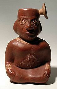 An Ancient Moche II - III  Seated Figure, Ancient Stirrup Ceramic