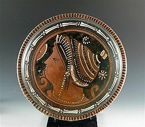 An Ancient Greek Apulian Red-Figure Plate with Lady of Fashion