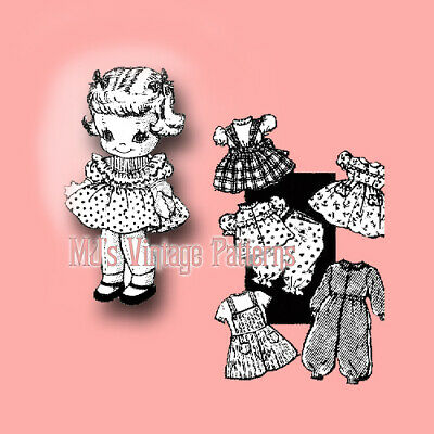 Doll w/ Hair Bows Vintage Pattern ~ BIG Wardrobe, lots of clothes!!!