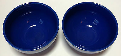 2 Martha Stewart Everyday Cereal Bowls Blue Dots Floral Flowers MSE Tiny Nick