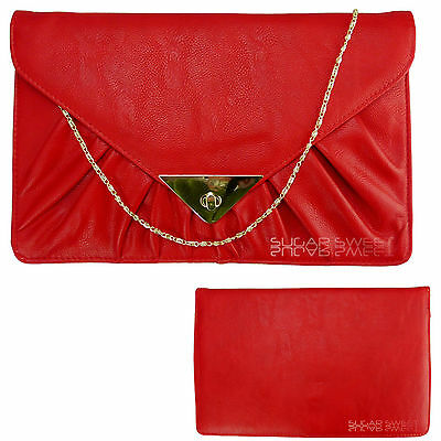 Ladies Red Oversized Leather Style Clutch Pleated Quilted Evening Wedding Bag