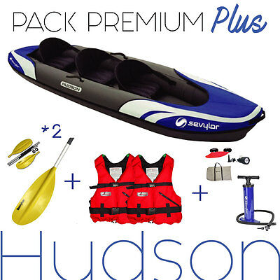 KAYAK 2/3 places HUDSON SEVYLOR. PACK LUXE, 2 pagaies, pompe, 2 gilets...